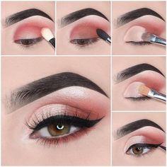 Easy Steps Pink Eye Makeup Tutorial Ideas For Beginners To Look Amazing! - Easy Steps Pink Eye Makeup Tutorial Ideas For Beginners To Look Amazing! Pink Eye Makeup, Simple Eye Makeup, Smokey Eye Makeup, Eyeshadow Makeup, Eyeliner, Eyeshadow Ideas, Pretty Makeup, Colourpop Eyeshadow, Clown Makeup