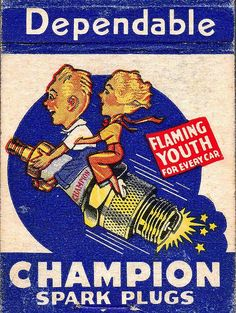 Flaming Youth detail of vintage matchpack advertising Champion Spark Plugs
