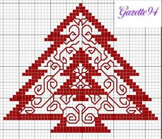 Cross-stitch Christmas Tree pattern... no color chart available, just use the pattern chart as your color guide or choose your own colors...