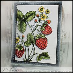 Passionate Paper Creations: It's a Power Poppy Weekend! Juicy Strawberries digital stamp set by Power Poppy, card design by Rhea Weigand