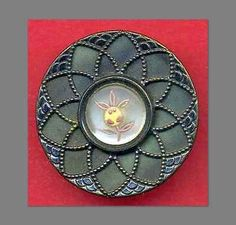 Large-Antique-Victorian-Celluloid-Button-with-Enamelled-Glass-Flower-Center