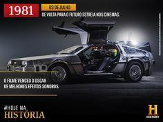 Você sabia que o DeLorean carro usado por Doc Brown como máquina do tempo só surgiu como opção após os produtores descartarem o uso de uma geladeira?  Num dia 03 de julho o mundo conhecia De volta para o futuro mas olha não foi em 1981 - o History Channel errou! Foi em 1985 e realmente o filme venceu o Oscar de efeitos sonoros no ano seguinte. (http://ift.tt/kPTyb8) O filme contou com a direção de Robert Zemeckis e foi estrelado por Michael J. Fox como Marty McFly um adolescente que voltou…