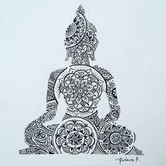 New Yoga Tattoo Mandala Design Ideas Buddha Tattoo Design, Buddha Tattoos, Buddhism Tattoo, Yoga Tattoos, Arm Tattoos, Sleeve Tattoos, Tatoos, Lotus Tattoo, Mandala Tattoo