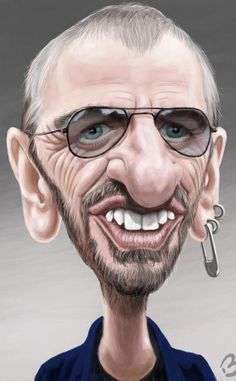 Ringo Cartoon Faces, Funny Faces, Cartoon Drawings, Cartoon Art, Funny Caricatures, Celebrity Caricatures, Celebrity Drawings, Ringo Starr, Caricature Artist