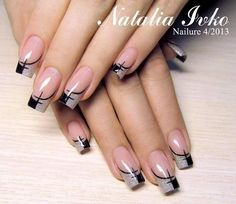 Gray gel french tip manicure with an abstract design.