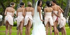 A new trend in wedding photos where the bridesmaids all lift up their dress to expose a butt cheek | Naija PARROT