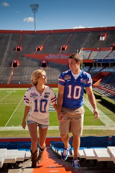 Engagement pictures that incorporate your alma mater (or current school!) I love this idea!!