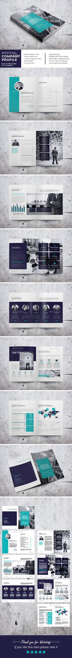 Minimal Company Profile Brochure Template InDesign INDD
