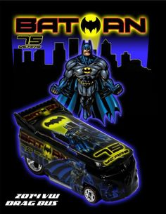 2014  75 TH  BATMAN VW  DRAG BUS  HOT WHEELS  BOXMAN