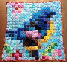 Patchwork Bird : pixel crochet baby blanket by klikklik.. Hoera! - Annegien