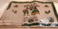 Vintage Set Linen Placemats w/ Penn. Dutch Motifs  4 Mats 4 Napkins Original Pkt