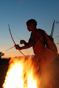 San | Bushmen | Kalahari, South Africa - The Kalahari is home to the San people, many of whom believe the world was created by a praying mantis. They believe they gave us early gifts of language and fire.