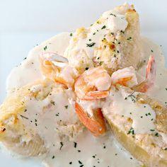 Shrimp & Crab Stuffed Shells in Garlic Cream Sauce @keyingredient #cheese…