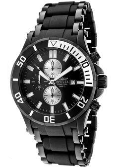 Invicta Men's Sea Spider Chronograph Black Dial Black Ion Plated SS and Black Polyurethane - Watch 1480,    #Invicta,    #1480,    #WatchesChronographQuartz
