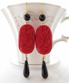 Orecchini lacca rossa, pendenti agata nera, gioielli artigianali, bijoux con pietre dure : Orecchini di sofiasbijoux