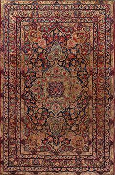 Antique  Kerman Lavar  Rug –  Circa:1890 Sizes:6X9.7