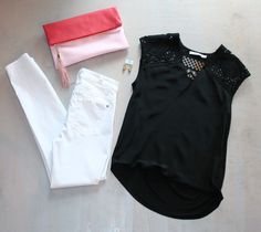 Sunday Brunch Black Blouse with Crochet Shoulders  by Bailey 44 $187 White High Waist Skinny Jeans by Seven For All Mankind $160 Two Tone Pink Clutch  by Shiraleah $55 Gold Bead Drop Earrings by iSobel $46
