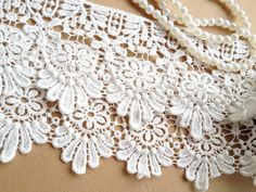White Daisy Lace Trim Cotton Lace Trim Embroidered by lacelindsay, $6.99