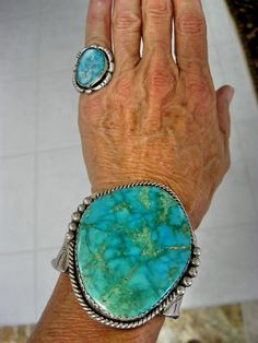 "Rare Gem Grade ""Carico Lake Turquoise"" Cuff and Ring with green blue webbing""; Old Pawn, Navajo (private collection)"