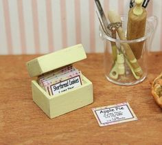 Miniature 1 /12th Scale Wooden Recipe Box by LorisLittleThings