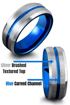 Get him a unique blue tungsten wedding ring. This mens wedding ring features a blue center channel with a silver brushed textured top. Polished beveled edges and a polished blue interior. Blue wedding rings are becoming the new black wedding rings! #blueweddingrings #mensweddingrings #uniqueweddingrings #hisweddingring
