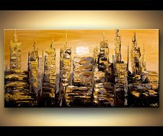 Abstract art poster on photographic paper. Title: The Gold City. Size: 48x24. Type: Poster on acid-free high-quality photographic paper. Shipping: