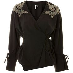 Topshop Dragon Embellished Blouse (3.880 RUB) ❤ liked on Polyvore featuring tops, blouses, black, sleeve top, topshop tops, tie top, topshop blouses and tie blouse