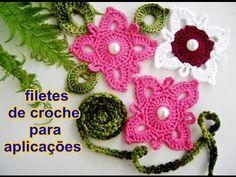 Como fazer crochê | Filetes para Flores | Passo a Passo | Aplicações | Decoração | Edinir-Croche - YouTube