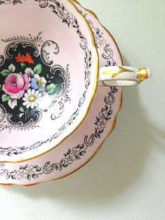 Antique English Paragon By Appointment to The Queen Her Majesty Queen Mary Fine Bone China Tea Cup and Saucer - Ca. 1952 - 1960's