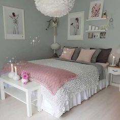An improved, feminine bedroom that provides an area to remainder, research study. An improved, feminine bedroom that provides an area to remainder, research study or captivate pals in vogue. Pops of pin. Cute Bedroom Ideas, Girl Bedroom Designs, Bedroom Themes, Diy Bedroom, Bedroom Wall, Bedroom Girls, Bedroom Ideas For Women On A Budget, Budget Bedroom, Comfy Bedroom