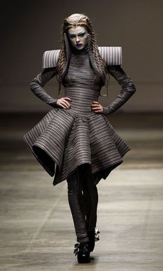 A model displays a creation by Gareth Pugh during his Autumn/Winter 2008 show at London Fashion Week