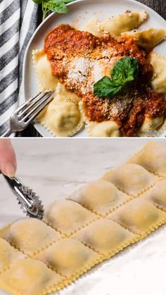 Homemade pasta sheets filled with a simple yet flavorful spicy Italian sausage and cheese filling! It is so tasty and fun to make. Learn the step by step instructions to this meat ravioli filling with Cheese Ravioli Filling, Homemade Ravioli Filling, Cheese Ravioli Recipe, Homemade Pasta, Ravioli Ricotta, Homemade Dinners, Toasted Ravioli, Diner Recipes, Cooking Recipes