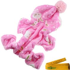 Adorable Cute Warm Soft Flannel Dog Cat Pet Pajamas Jumpsuit Apparel Clothes with Hat and Bunny Image (CHEST GIRTH: about 18.1 inch) >>> You can find out more details at the link of the image.