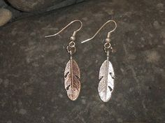 Feather Silvertone Earrings by SavannahRoseJewelry on Etsy, $9.00