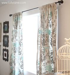 Stenciled curtains two color floral
