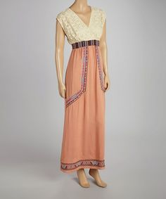 Take a look at this Peach Lace Panel Maxi Dress by Flying Tomato on #zulily today!