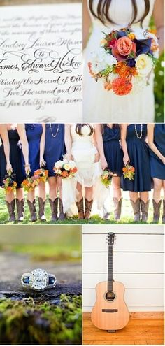 Country Wedding - navy dresses with | http://weddingideasplanning.blogspot.com
