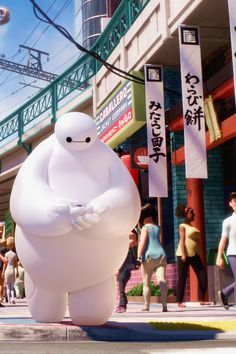 Big Hero 6. Baymax's compassion knows no size...  'Where ya want to go, little fella?'