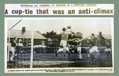 Andover 0 Gillingham 1 in Nov 1962 at the Walled Meadow. Roy Moss has a header saved for Gillingham in the FA Cup 1st Round.