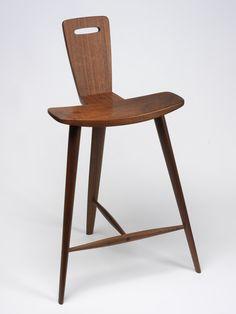 RISD Museum: Tage Frid, designer, American, 1915. 2004. Stool, 1982. Walnut. 77.5 x 48.3 x 38.1 cm (30 1/2 x 19 x 15 inches). Gift of the Rhode Island School of Design Class of 1982 82.178