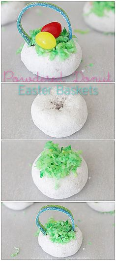 Powdered Donut Easter Basket Treats - click for easy tutorial