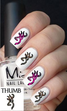 50pc Him N Her Pink Camo Brown Camo Deer Nail by DesignerNails, $3.95