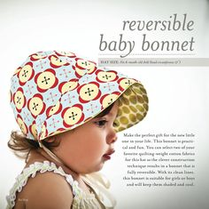 Reversible baby bonnet.