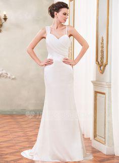 Trumpet/Mermaid Sweetheart Watteau Train Chiffon Charmeuse Wedding Dress With Ruffle Beading (002031877) - JJsHouse