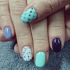Purple, mint, and white nails with dots
