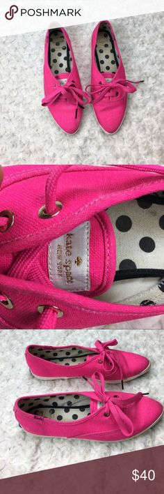 Kate Spade Pink Keds Pink point toe Keds by Kate Spade. Bright Pink color. Lace up. Polka dot lining. These have been worn. Still in great condition. Pictures show wear. Size 8. kate spade Shoes