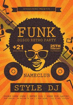 Funk Disco Retro Party Free Flyer Template - http://freepsdflyer.com/funk-disco-retro-party-free-flyer-template/ Enjoy downloading the Funk Disco Retro Party Free Flyer Template by Styleflyers! #80S, #Club, #Dj, #Event, #Funk, #Hip, #Party, #Retro, #Vintage