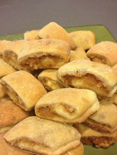 apple rugelach filled with organic local apples sweetened with agave Portos Cheese Rolls Recipe, Cheese Roll Recipe, Delicious Desserts, Yummy Food, Cheese Rolling, Jewish Recipes, Bakery Cafe, Bakery Recipes, Sweet And Salty