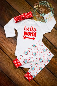 Red Floral Newborn Outfit