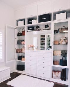 """""""We recently installed a custom-built closet (chandelier coming soon! I love the crystal drawer knobs and the all-white shelves. Walk In Closet Design, Closet Designs, Closet Chandelier, Closet Built Ins, Wardrobe Room, Wardrobe Storage, Walk In Wardrobe, Closet Storage, Bedroom Storage"""